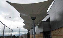 Steel And PVC Inverted Cone Outside Tensile Structure