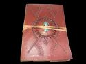 Embossed Handmade Leather Journal with Stone