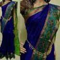 Party Wear Border Ladies Blue Silk Saree, Hand Made, 6.3 M (with Blouse Piece)