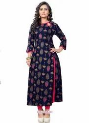 Blue Embroidered Kurtis