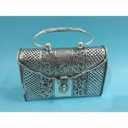 Embroidered Pure Silver Clutch Handbag, Packaging Type: Box