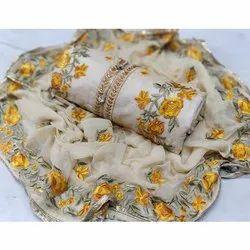 Rajnandini Off White And Yellow Semi Modal Embellished Semi-Stitched Dress Material
