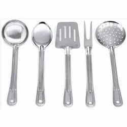 Polished Silver Steel Kitchen Tools, For Home