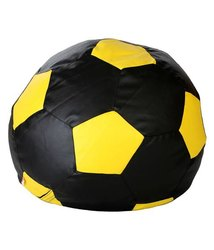 Leatherette Made In India Football Yellow And Black Bean Bag, Size: XXXL