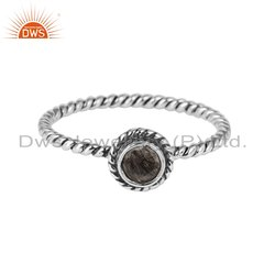 Black Rutile Gemstone Twisted Oxidized Sterling Silver Ring