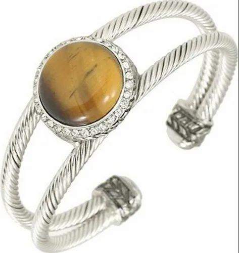 Cuff Bracelet With Tiger Eye Stone
