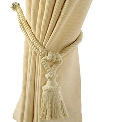Off White Plain Tie Back Curtains