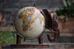 11 Inch Handcrafted Elephant Shape Iron Decorative Globe