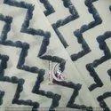 Blue Zig Zag Hand Block Print Jaipuri Cotton Fabric