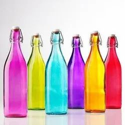 Agarwal Trading Corporation Glass Colored Drinking Water Bottle, Packaging Type: Boxes