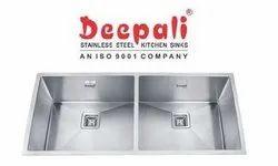 Deepali Matt Stainless Steel Double Bowl Handmade Sink, Size: 37x18