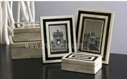 Bone Inlay 2 Photo Frame And 1 Box
