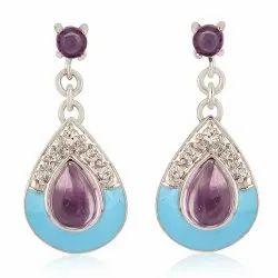 Amethyst Topaz Silver 925 Sterling Silver Dangle Earring Jewelry