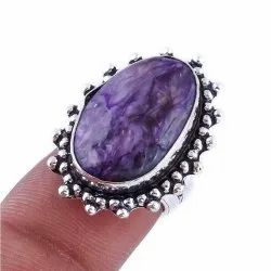 Silver Plated Brass Handmade Natural Charoite Oval Shape Bezel Setting Vintage Fashionable Ring, For Weddings
