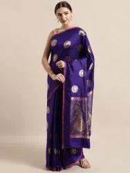 Blue Silk Blend Woven Design Banarasi Saree