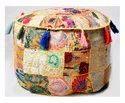 Cotton Patchwork Pouf Ottoman