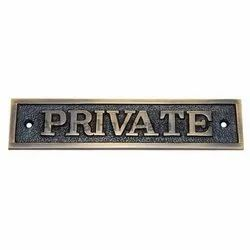 Rectangular Private Brass Sign