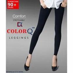 Black Lycra Cotton Ankle Length Leggings