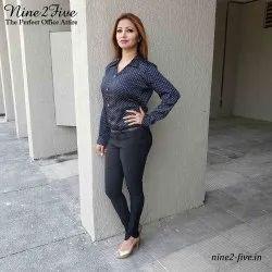 Collar Neck Nine2Five Black Dotted Satin Formal Shirt, Machine Wash