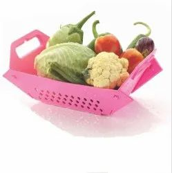 Plastic Multipurpose Folding Fruit Vegetable Colander And Basket (Multicolour)