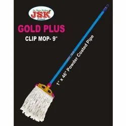 JSK Iron Powder Coating Pipe Golden Plus Clip Mop, For Floor Cleaning