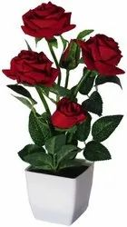 HALFCORN Artificial Red Roses Bonsai Flowers with Pot(30cm)