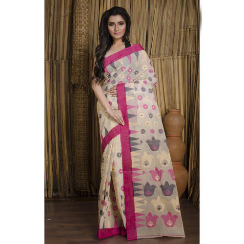 4778c5af05 Cotton Jamdani Saree in Off White and Rani at Rs 3900 /piece ...