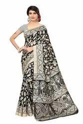 Prince Creation Silk Women's Printed Bhagalpuri Saree With Printed Blouse Piece
