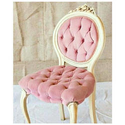 Pink And Golden Velvet Chair