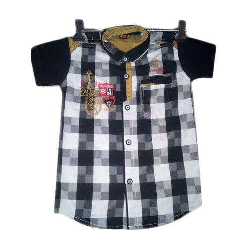 Party Wear Cotton Boys Kid Checked Shirts, Packaging Type: Box