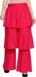 Red Layered Women Rayon Palazzo