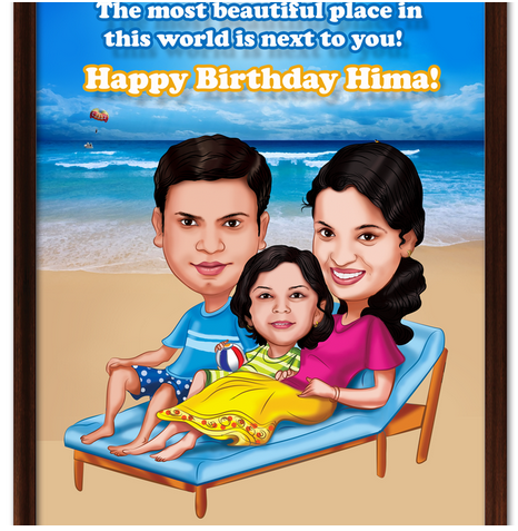 Most Beautiful Family, Personalized Birthday Caricature Gift