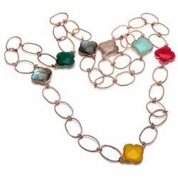 Multi Gemstone Clover Shape Necklace