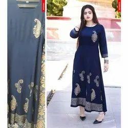 Stitched Rayon Ladies Dark Blue Designer Kurti
