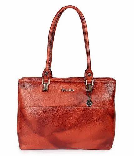 3e5fb3dea88f Brown Plain Ladies Leather Bag