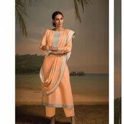 Neck Patti Border Soft Cotton Dress Material