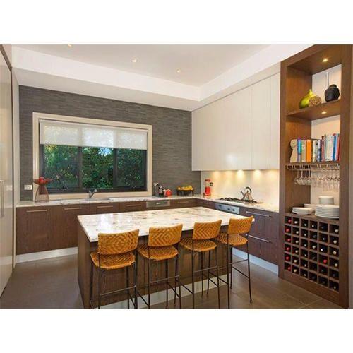 Green Modular Kitchen: U Shape Modular Kitchen