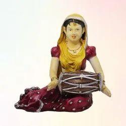 Rajasthani Lady Dholak Statue