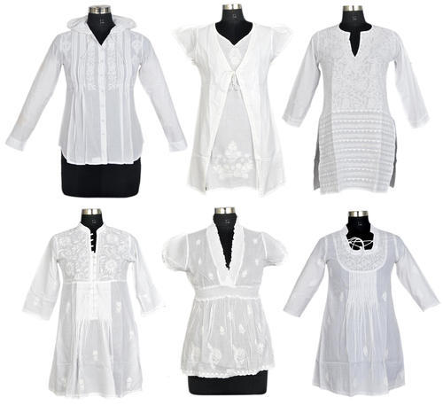White Chikan Hand Embroidery Tops and Dresses