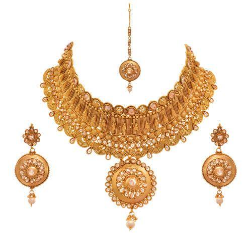 Jfl Gold Plated Diamonds Designer Semi Bridal Necklace Set Size
