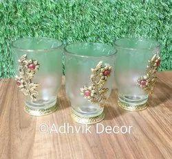 metal floral Polished Decorative glass, Size: 10x6.8cm