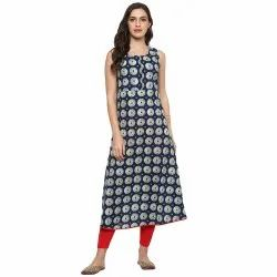 Yash Gallery Women's Cotton Layered Printed Kurta & Inner Set