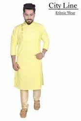 Cotton Wedding and festive Wear Ethnic Kurta Pyjama, Machine wash