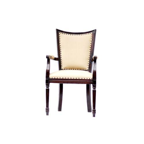Lalji Handicrafts Brown,Cream Wooden Upholstered Chair