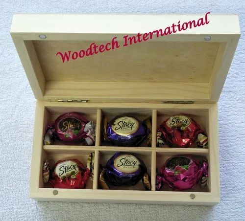Wooden Chocolate Box With 6 Compartments