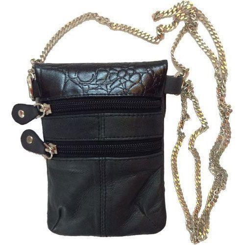 Black Genuine Leather Ladies Designer Chain Shoulder Pouch