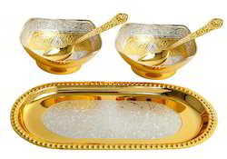 Gold Plated Tray With Bowls and Spoon Set