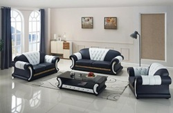 Wooden Dark Grey & White Sofa with Center Table