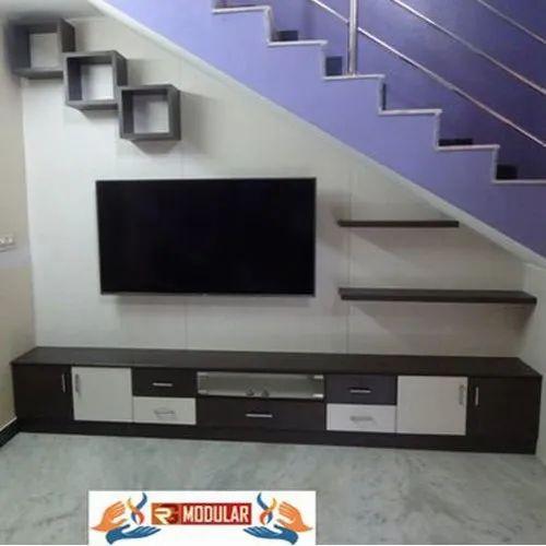 Rg Modular Wooden Under Stair Tv Unit, Under Tv Cabinet