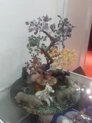 Statues Of Wild Animals With Tree And Crocodile Jasper Tile